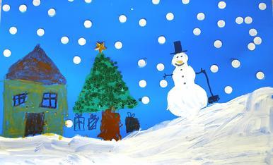 """EL Joan ha fet un dibuix del """"Nadal a la muntanya"""", esperem que us agradi."""