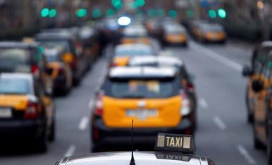 Una protesta de taxistes a Barcelona.