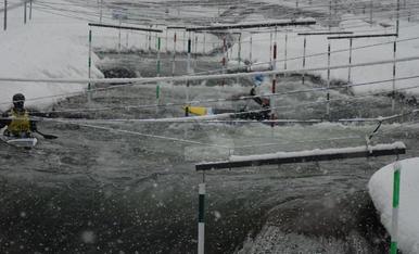 El Parc del Segre de la Seu d'Urgell, completament nevat