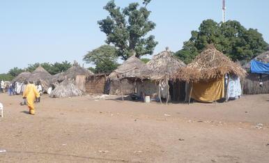 Sens dubte, no calen massa complicacions a l'hora de fer façanes. Aquestes, al Senegal, són una mostra de l'austeritat amb que es pot viure. (foto feta l'any 2015 en un poblat diola)
