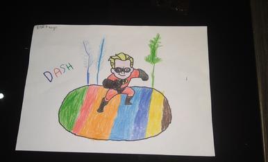 Èric, 7 anys, la seva mona li agrada del Dash dels increíbles, li encanta.