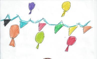 La Gemma té 6 anys i li agradaria una mona amb un gran ou de xocolata i amb molts colorets. Ha dibuixat globos perqué diu que és una festa bonica.