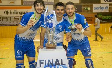 Celebració del segon títol continental del Lleida Llista