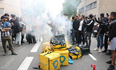 Imatge d'arxiu d'una protesta de repartidors de Glovo a Barcelona