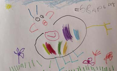 La vaca contenta de l'esbaiola't. Elsa Lucas Boneu, 3 anys. Av.Victoriano Muñoz 45, 2n 1a, 25520 El Pont de Suert. 630067322 (Marta Boneu)