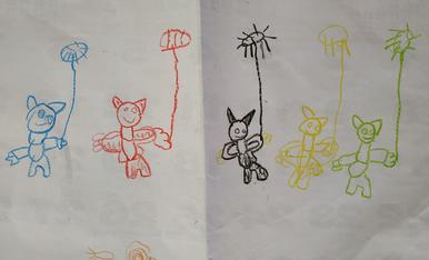 """El meu fill Andreu Gòdia Cervelló d,Alcarràs, de 5 anys a dibuixat """"Els correfocs"""" de la festa major d,estiu ,li encanten !"""