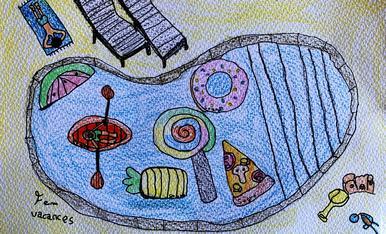 """Nom: Marcel Carnicé Biosca. Edat: 8 anys. Títol: """"La piscina dels flotadors divertits""""."""
