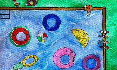 """Nom: Abril Carnicé Biosca. Edat: 10 anys. Títol: """"Un dia de piscina""""."""