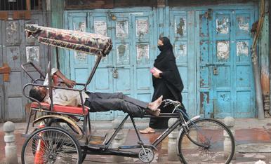 Descansant en el rickshaw.