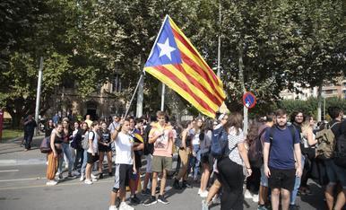 Manifestació d'estudiants a Lleida en l'aniversari de l'1-O