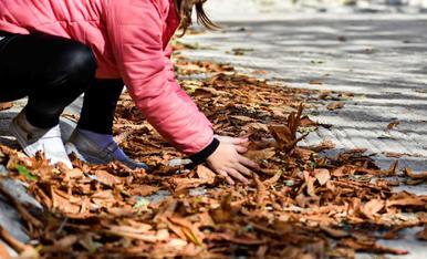 Jugant amb les fulles de tardor