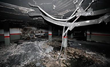 El pàrquing d'Alcarràs, després de l'incendi