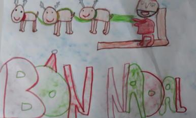 """Em dic Aina Pérez Mònico, tinc 8 anys i sóc de Les Borges Blanques. El títol del meu dibuix és """"UN NADAL DE COLORS"""""""
