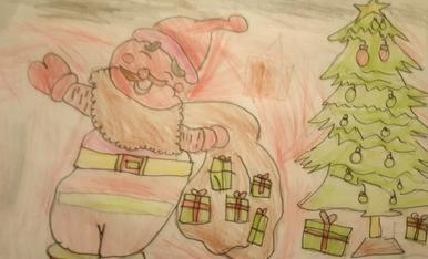 L'Aran de 5 anys ha dibuixat al pare noel amb un sac ple de regals.