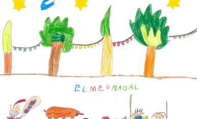 Hola! Sóc el Blai, tinc 6 anys i visc a Bellvís, al Pla d'Urgell. El títol del meu dibuix podria ser: la llum del Nadal perquè el meu Nadal sempre està ple de llums de colors. M'embadaleix descobrir les llumetes amagades per qualsevol racó! Amb la