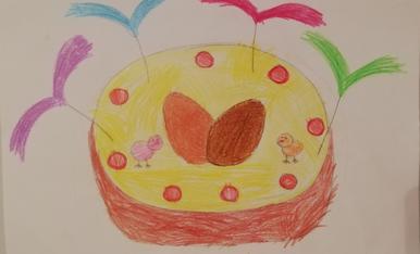La mona dibuixada per la meva filla Daniella de 3 anys.