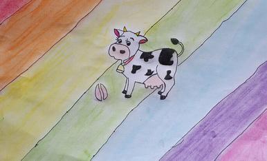 Soc L'Ariadna de 10 anys. L'Ariadna ha dibuixat la vaca de l'Esbaiolat, una vaca molt colorida i divertida, que va pasturant pels prats d'Esterri D'Aneu!