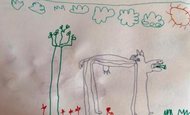 Soc un nen de P5 i he dibuixat una vaca feliç.