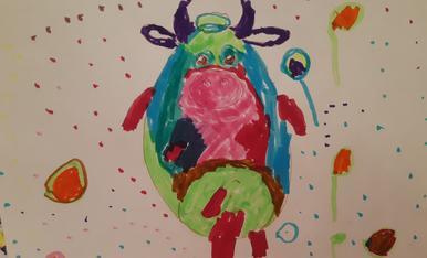 El Pol (4 anys) ha fet una vaca desconfinada i multicolor!