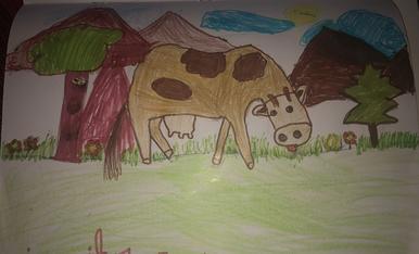 Dibuix de la vaca de l'Aina Ribes Samitier, 5 anys.