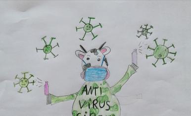 Vaca amb monocicle que fa malabars amb el coronavirus (Berta, 10 anys)