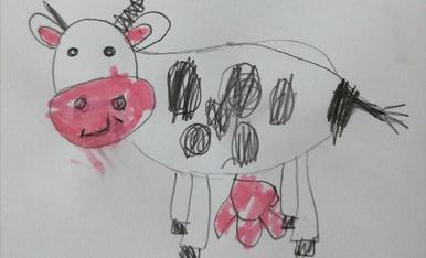 La vaca esbaiolada! Jana 4 anys