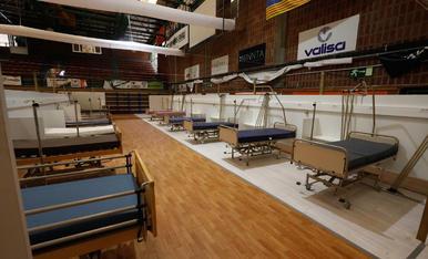 El pavelló Onze de Setembre de Lleida, preparat com a hospital