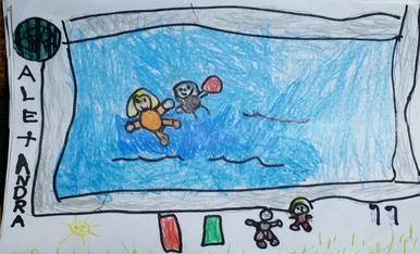 Alexandra Delgado tiene 5 años y le hace mucha ilusión que salga su dibujo en el cerclesegre, es su primer concurso y desea compartir que lo mejor de este verano fue el poder ir a las piscinas de Almacelles con su hermana mayor  Ariadna. Suerte a todos.