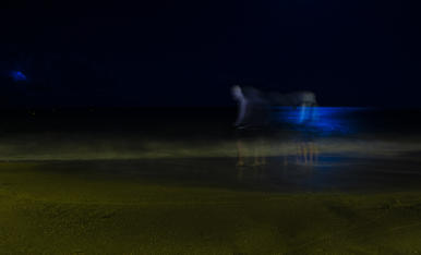 Passejada nocturna, entre llamps i lluna plena, per la platja de Cambrils
