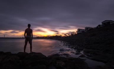 La calma del mar al capvespre. Lanzarote.