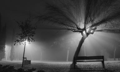 La combinació de llums i boira, és també un dels atractius de la Lleida nocturna