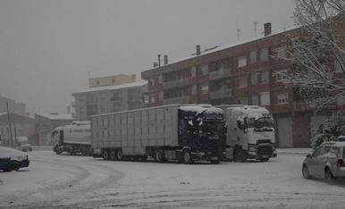 Camions parats ahir a la Panadella.