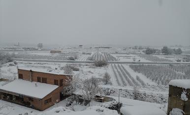Sortetes de Montoliu de Lleida amb un tou de neu