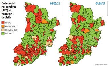 Evolució del  risc de rebrot  (iEPG) als  municipis  de Lleida