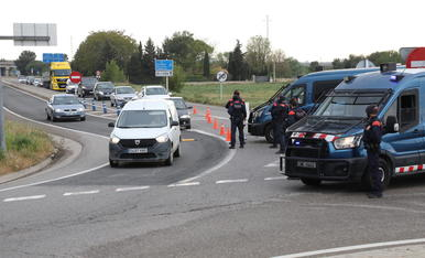 Un control de mobilitat dels Mossos la setmana passada a Alcoletge.