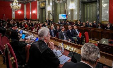 Els condemnats per l'1-O al judici, des del grup de la Fiscalia, l'Advocacia de l'Estat i Vox.