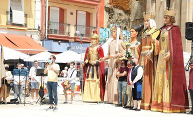 Entrada de l'àguila i balls del seguici a Lleida. Corpus 2021