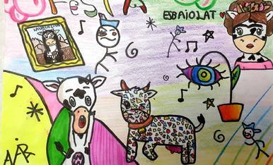 Ariadna María Delgado Mendoza, de 10 años de edad. En su dibujo ha querido reflejar el arte de muchos artistas del mundo, la alegría de volver a celebrar la fiesta Esbaiola't