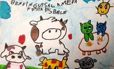 Alexandra Delgado de 6 años de edad quiere seguir los pasos de su hermana mayor en el dibujo y en el quiere reflejar lo feliz que se encuentra la vaquita del esbailat con sus amigos, jirafa, hipopótamo, perrito y gatito, sin olvidar que la vaquita tiene u