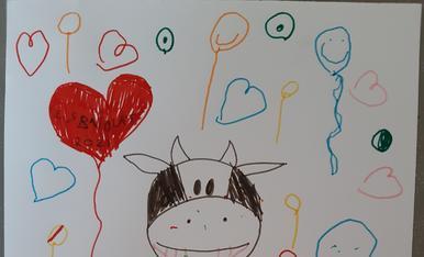 L' Eduard Monera (5 anys) ha dibuixat una vaca festivalera