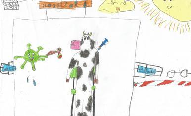 """L'Ona te 7 anys, l'adreça es c/ Metall 23 d'Alcarràs i el telèfon dels pares es 679958202. El títol es """"La vaca es vacuna"""" , per poder fer l'Esbaiola't  2021"""