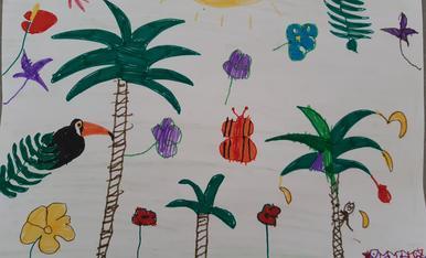 A l'Eduard de 5 anys li agradaria anar de vacances a una selva tropical com a la Polinesia ;)