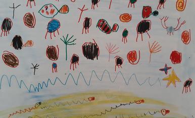 El Pol de 5 anys li agradaria passar les vacances en una platja plena de peixos i animals marins com al Carib ;)