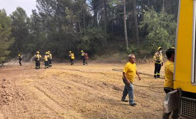 Efectius de la Segarra treballant el cap de setmana en les tasques d'extinció de l'incendi de la Conca de Barberà i l'Anoia.