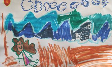 dibuix de l'estiu laia 5 anys representant la platja