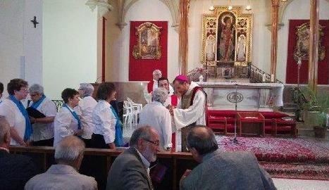 El bisbe Xavier Novell, ahir durant la missa a l'església d'Anglesola.