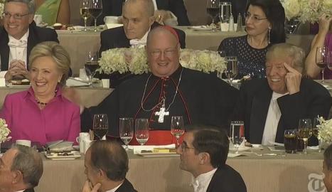 Clinton i Trump, al costat de l'arquebisbe de Nova York.