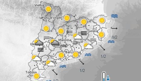 La previsió meteorològica per aquest dissabte
