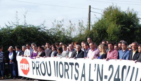 La mobilització de diumenge passat en el punt on va morir la jove Marta Sòria.