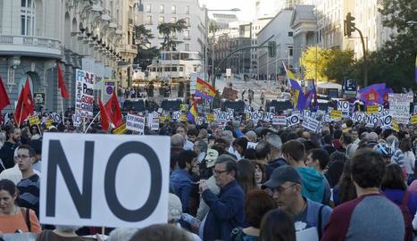 Vista de la plaça de Neptuno, on va començar la manifestació convocada per la Coordinadora 25-S.